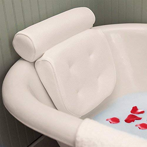 Essort Spa Bath Pillow, PU Bath Cushion with Non-Slip Suction Cups, Home Spa Headrest for Ultimate Relaxation, Providing Head, Neck, Back and Shoulders Support, 10.63 x 5.51 x 1.97 White