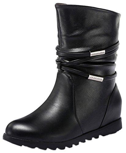 Folding Wings Costume (Passionow Women's Comfort Round Toe Pull-on Strap Warm Faux Fur Lining Hidden Heel Winter Boots (9 B(M)US,Black))