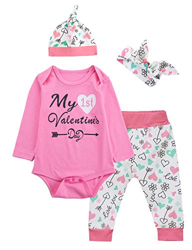 Newborn Baby Girls My First Valentine Day Outfit Set Long Sleeve Bodysuit (Pink, 0-3 Months) -