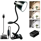 BOHON Clamp Lamp Reading Light 3000-6500K Adjustable Color Temperature 10 Brightness Dimmer 10W 38 LED Beads, Desk Lamp 360° Flexible Gooseneck Clip on Light for Bed, AC Adapter and USB Cord Include (Color: Black)