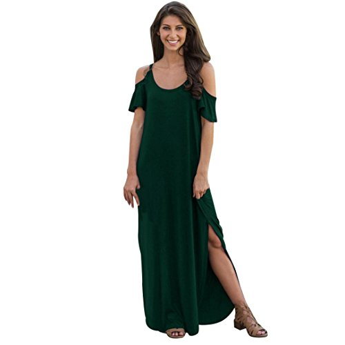 Guesspower Robe Longue Femme t Sexy Vintage Boho Summer Manches Courtes Solide Sling Cold Shoulder Beach Split Longue Robe 3 Couleur, S-XL(36-42) Vert