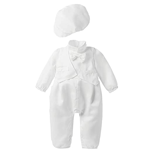 339d93e46 Amazon.com  Baby Boy Christening Baptism Satin Bowtie Vested Romper ...