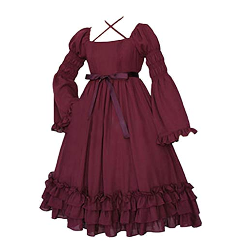 LYN Star◈ Mythic Renaissance Medieval Irish Costume Over Dress & Cream Chemise Set Dress Gothic Victorian Fancy Dresses Wine Red ()