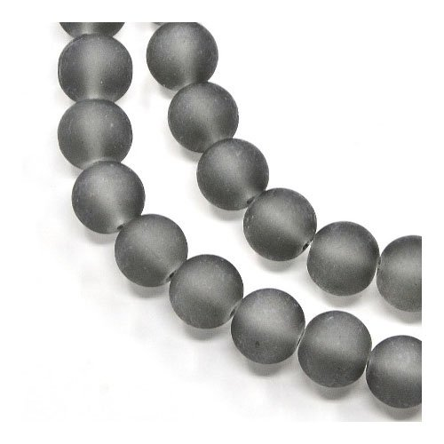 Strand 135+ Grey Glass 6mm Frosted Plain Round Beads Y04730 (Charming Beads)