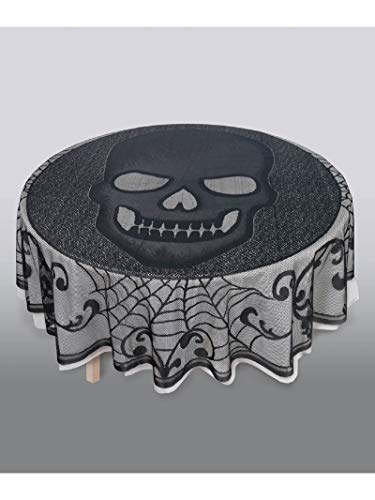 - Amscan Skull Lace Round Tablecloth, Fabric Table Cover is Reusable and Washable, Measures 70 Inches Diameter