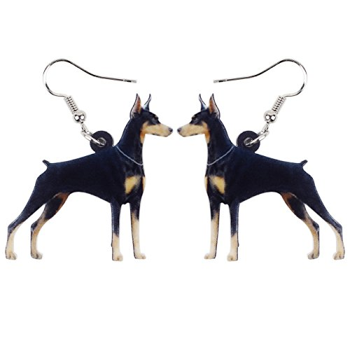 NEWEI Acrylic Drop Dangle Sweet Doberman Pinscher Dog Earrings Fashion Jewelry For Gift Girl Women Charms (Doberman Pinscher Dog Charm)