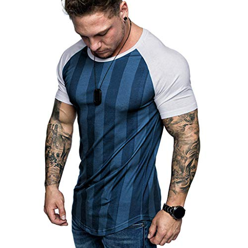 Men Raglan Shirt Short Sleeve Stripe T-Shirt Slim Fit Muscle Workout Baseball Gym Tees (M, Dark Blue)