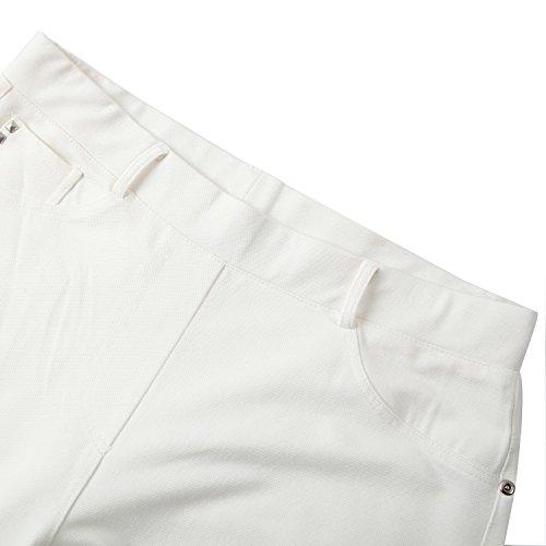 Chicwe Pantalones Leggings Tallas grandes Mujeres Pantalón pitillo Elástico Algodón Mezclada EU46-58 Marfil