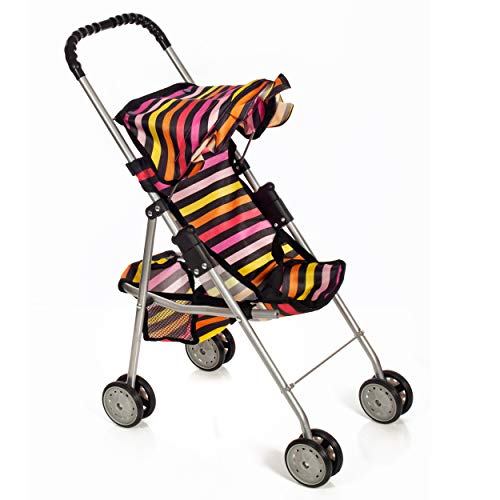 Mommy & Me Baby Doll Stroller Foldable Striped Umbrella Carriage with Basket for Toddler Kids