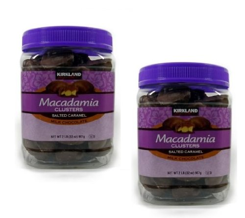 Kirkland Signature Macadamia Clusters Salted Caramel Milk Chocolate JAR - 2 Pack of 2 Lb (32 Oz) Each JAR