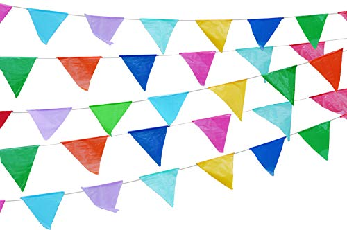 Colorful 115 ft long 70 Carnival Flag Triangle pennant banner garland. 5 Pack,Plastic for fiesta party, circus decorations supplies multicolor, Car dealer business Grand opening welcome advertising -