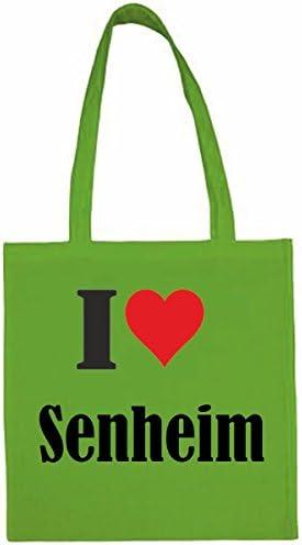 I Love Senheim boodschappentas schooltas gymtas 38 x 42 cm in zwart of wit groen groenTasche139806gruen