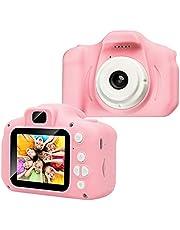 Kinderfotoapparaat - kindercamera met 2,0 inch 1080p HD IPS-scherm ingebouwde 32 GB SD-kaart USB oplaadbare kinderspeelgoedcamera voor jongens en meisjes van 3-10 jaar oud, verjaardagscadeau