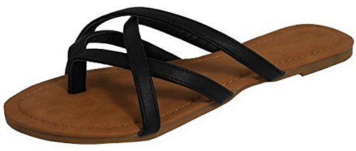 Cambridge Select Women's Crisscross Strappy Thong Slip-On Flat Slide Sandal (8.5 B(M) US, Black) ()