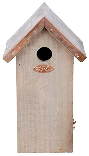 Esschert Design Chickadee Bird House - Antique Wash with Copper Roof
