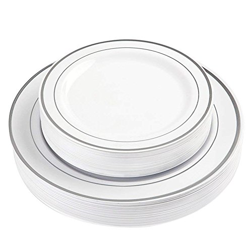 60 Pieces White Silver Plastic Plates, Heavyweight Disposable Plates,Plastic Party Wedding Plates Includes 30 Dinner Plates 10.25 Inch and 30 Salad /Dessert Plates 7.5 Inch(IOOOOO)