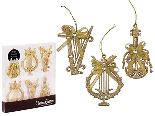 Christmas Traditions 4 inch Gold Glittered Musical Instruments Christmas Hanging Ornaments Tree Decorations Guitar/Harp/ Lyre (Set of 6) ()