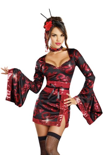 Geisha Girl Costume Black (Dreamgirl Geisha And Dragon Tattoo, Black,)