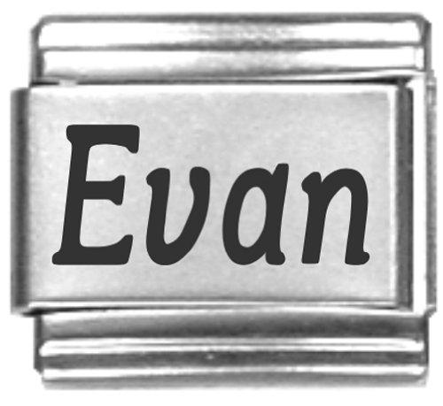 Evan Laser Name Italian Charm Link