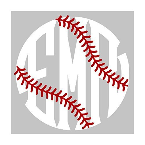 Baseball or Softball Fancy Circle Monogram Vinyl Decal
