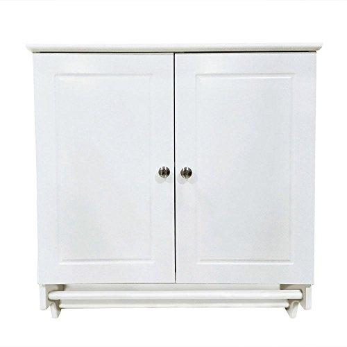 Recessed Double Door (Yaheetech Bathroom/Kitchen Wall Mounted Cabinet White Double Door & Hanging Bar Storage Cupboard)