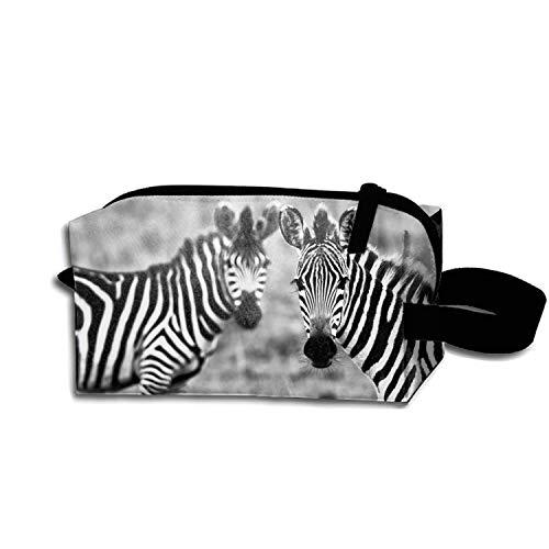 JONHBKD Adorable Zebra Desktop Wallpapers Pencil Case Zipper Coin Organizer Makeup Costmetic Bag Pouch