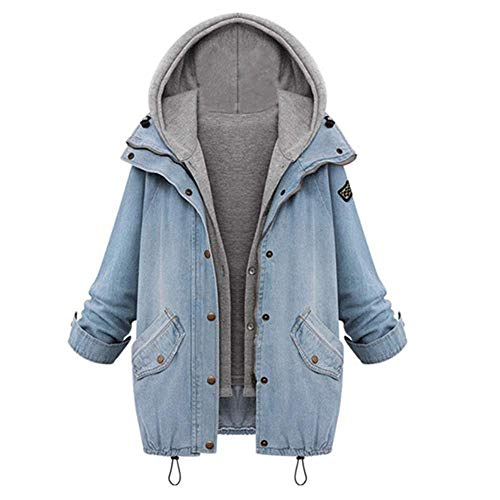 Women's Loose Fit Hooded Vest Jacket Boyfriend Trends Jeans Parka Two Piece Denim Trench Coat Light Blue Tag 2XL-US 10