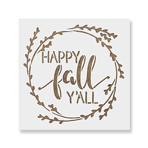 Happy Fall Yall Stencil Template for Walls and Crafts - Reusable Stencils for Painting in Small & Large Sizes