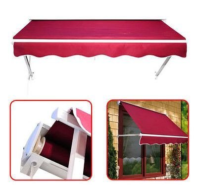 6ft drop arm Manual Retractable window door awning canopy shelter sun shade red by Outsunny (Awning 6 Ft)