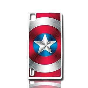 carcasa funda para movil compatible con huawei ascend p6 escudo del capitan america