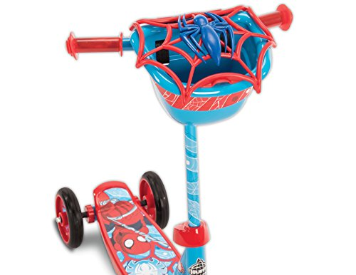 """Huffy Bicycle Company Marvel Spider-Man Secret Storage 3 Wheel Scooter, Soft Blue, 37"""""""