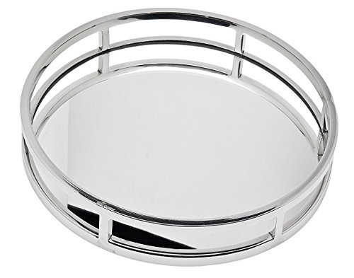 Le'raze Beautiful Mirrored Tray With Chrome Rails, Elegant Round Vanity Mirror Tray With Side Bars, Makes A Great Bling Gift 13 Inch by Le'raze