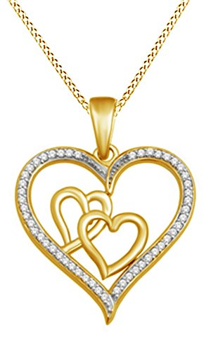 Jewel Zone US White Natural Diamond Triple Heart Pendant in 10K Yellow Gold (1/7 Cttw)