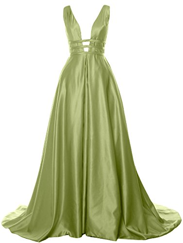 Deep Formal Neck clover Satin Gown Evening Dress V Ball Long Prom Back MACloth Open dvUqwFU