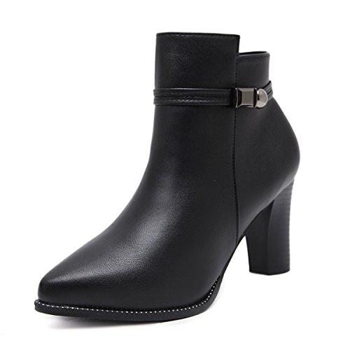 zapatos amp;X mujer La Black QIN bloque señaló Botines Toe corto 578UEwxqnd