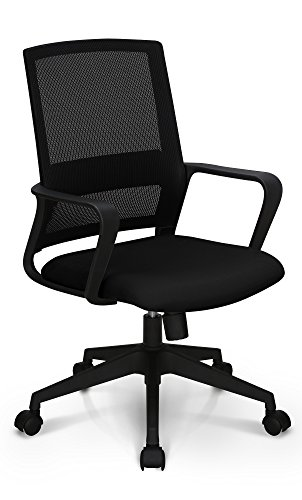 Neo Chair Managerial Office Chair Conference Room Chair Desk Task Computer Mesh Home Chair w/Armrest : Ergonomic Lumbar Support Swivel Adjustable Tilt Mid Back Wheel, (Study Mesh Black)