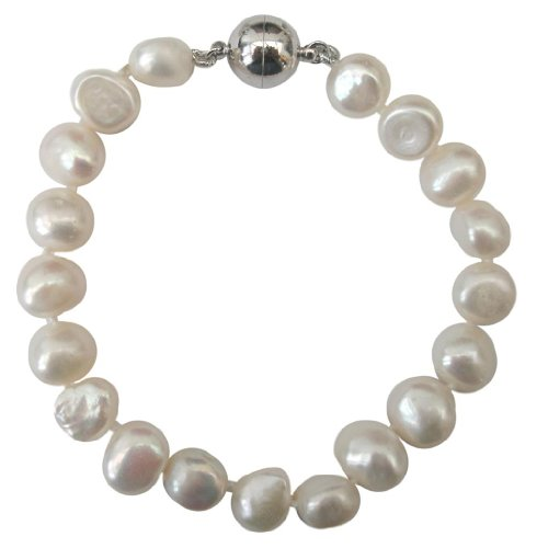 Classic White 9-10mm Baroque Cultured Pearl Bracelet with A Sterling Silver (925) Magnetic Clasp
