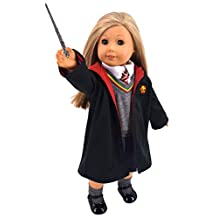 Ebuddy Hermione Granger- Inspired Doll Clothes Shoes for American Girl Dolls: 8pc Hogwarts-like School Uniform with Cloak