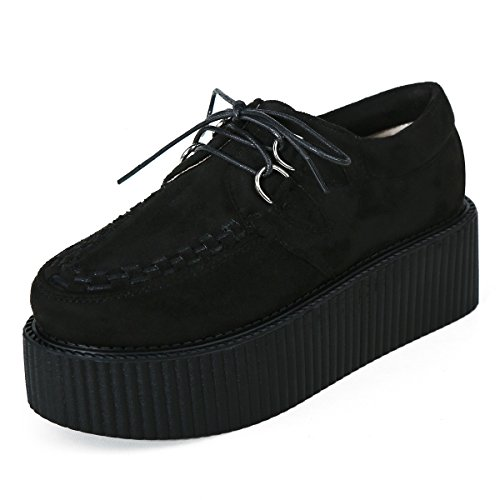 Chaussures Cuir Oxfords Creeper Lacets Femmes Plateaforme Noir Gothique Punk Roseg 0B7UqRU