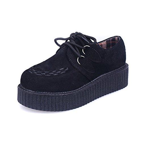 CHNHIRA Women's Creeper Platform Shoes Lace-Up Goth Punk Wedge Fashion Sneaker (6 US, Black Suede)