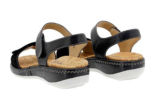 PieSanto Calzado Mujer Confort de Piel 1909 Sandalia Plantilla Extraíble Cómodo Ancho Negro