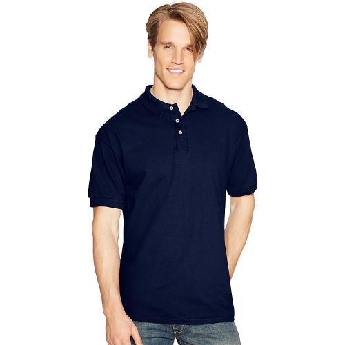 Hanes 055X Unisex ComfortSoft Pique Knit Sport Shirt Deep (Navy/Small)