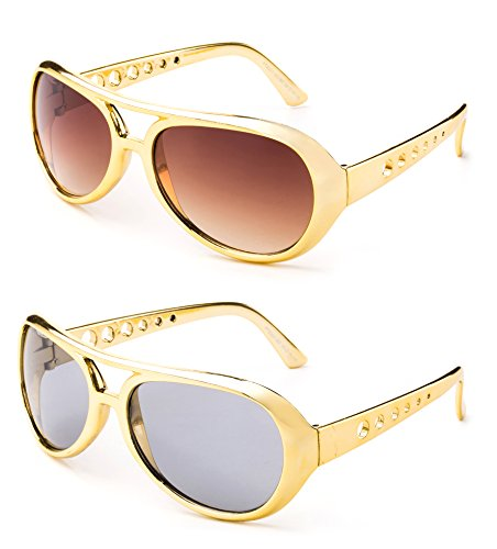 Elvis The King Presley Shiny Chrome Party Sunglasses 60's Rock Star Classic Aviator Sunglasses