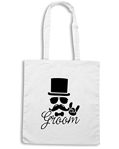 T-Shirtshock - Borsa Shopping MAT0061 Moustache Groom Maglietta Bianco