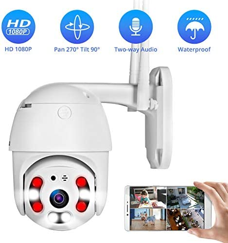 PTZ Smart Security Camera with Full Color Night Vision, TOWODE Waterproof Home WiFi IP IR-Lens Wireless Camera Motion Detection 1080P CCTV Surveillance Cameras JPEG Snapshot Function Outdoor