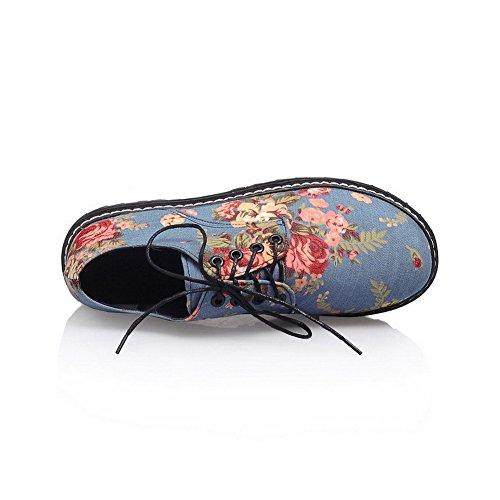 AgooLar Damen Schnüren Niedriger Absatz Denim Gemischte Farbe Rund Zehe Pumps Schuhe Blau