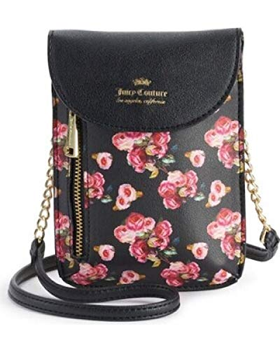 Juicy Couture Cellie Mini Crossbody Bag Black Rose Print