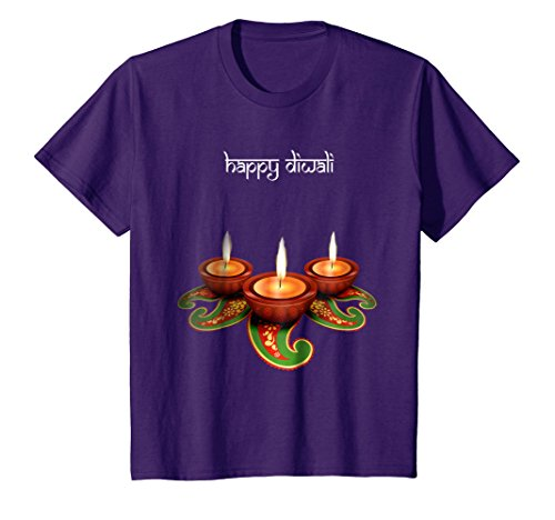 Kids Diwali Traditional 3 Diyas Lamps With Rangoli T-Shirt. 12 Purple by Happy Diwali Tshirts