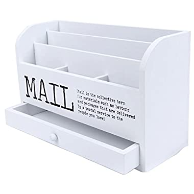 3 Tiered White Letter File Mail Organizer Wooden Desk Compartment Sorter Organizer with Storage Drawer - (11 inches)