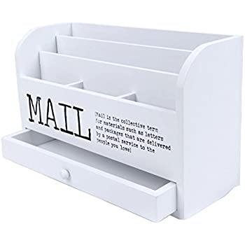 3 Tier Wooden Mail Desktop Organizer U0026 Sorter With Storage Drawer   For  Office And Home   Keep Mail, Letters, Files, U0026 Office Supplies Neat U0026  Organized ...